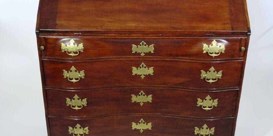 Attrib. William King Serpentine Slant Front Desk