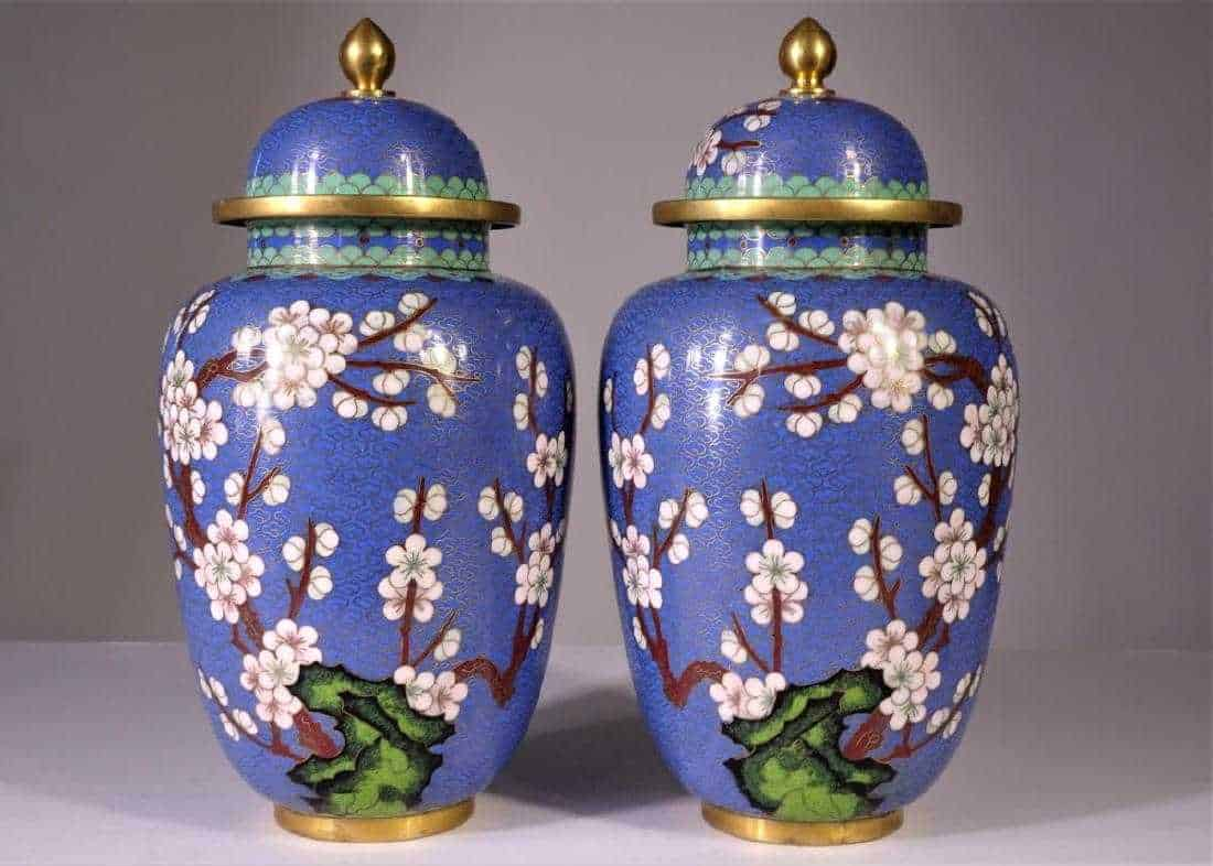 Pair of Chinese Cloisonne Urns