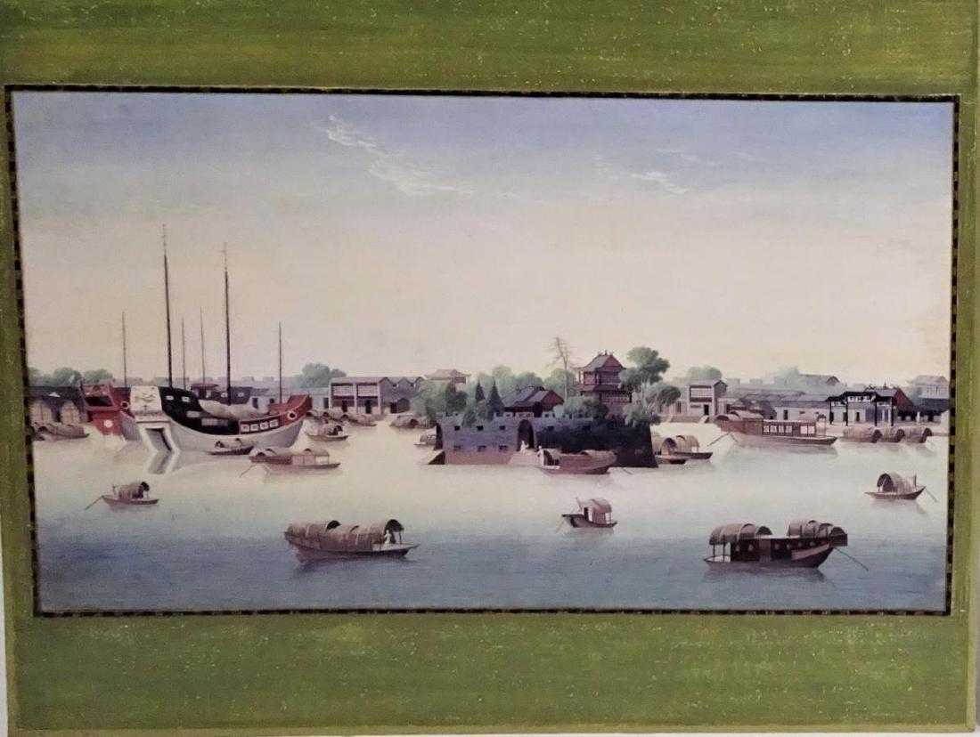 View of the Hongs, Circa 1800,Gouache on Silk