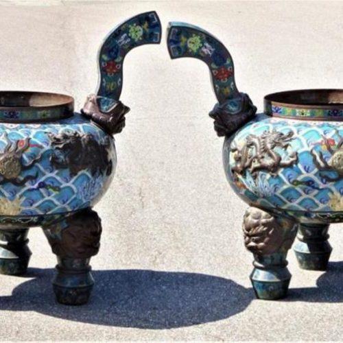Palace Sized Chinese Cloisonne & Jade Censors
