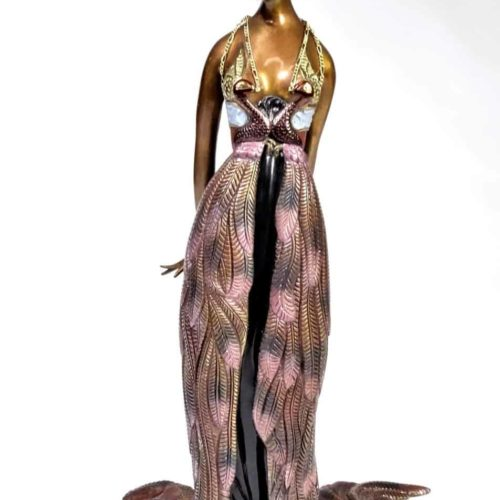 "Erte (1892-1990) Russian, ""Feather Gown"" Bronze"