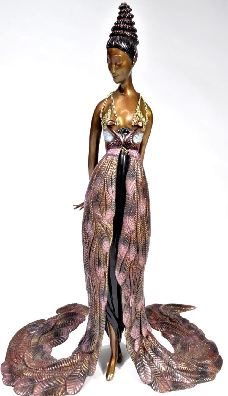 """Erte (1892-1990) Russian, """"Feather Gown"""" Bronze"""