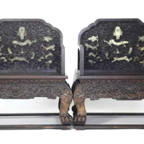 Important Qing Dynasty Pair of Chinese Throne Chairs