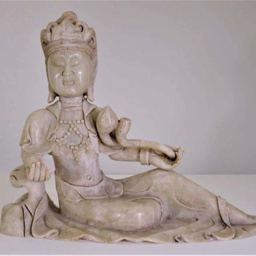 Rare White Jade Reclining Guanyin
