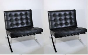 Pair of Barcelona Knoll Leather Lounge Chairs