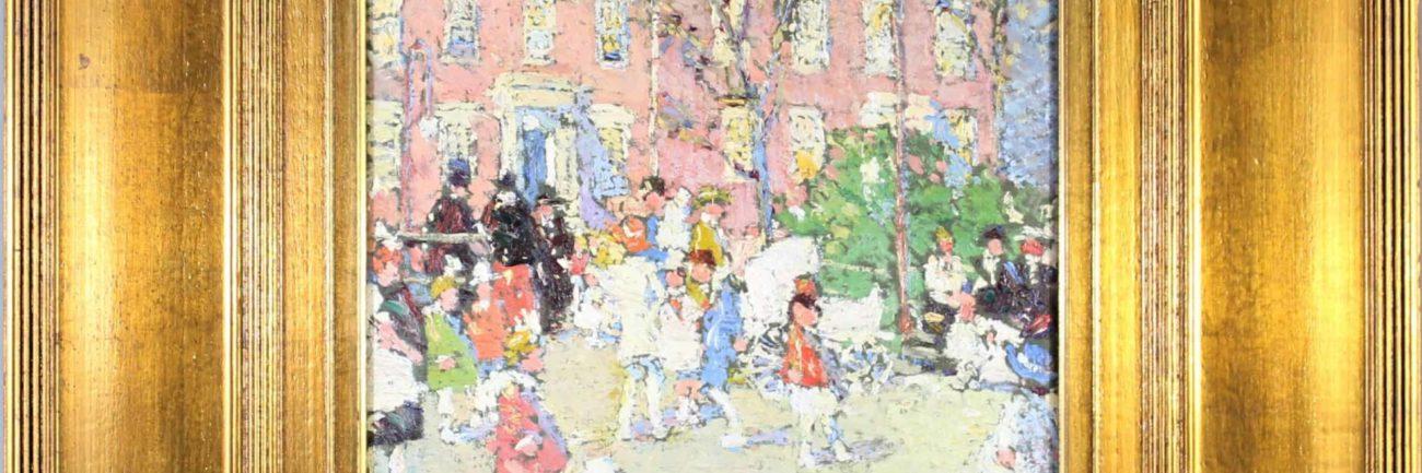 F.-Waldo-Howell-1897-1968-Circa-1907-Washington-Square-Parade-Day-Oil-on-Board