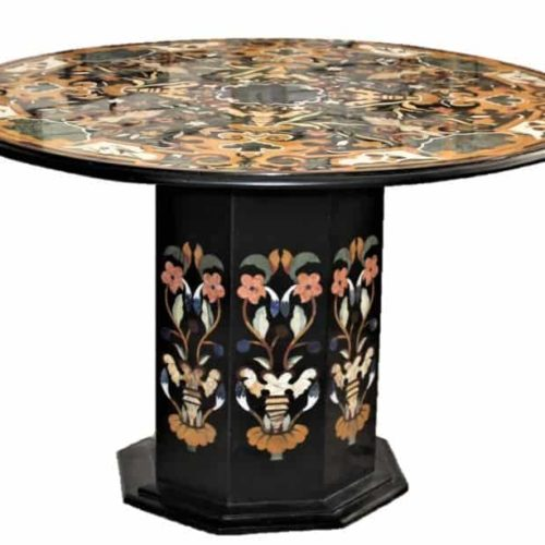 Modern Pietra Dura Round Marble Top Chamfered Pedestal Table