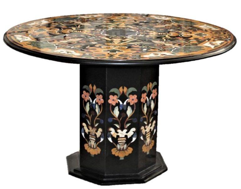 Modern Pietra Dura Round Marble Top Chamfered Pedestal Table