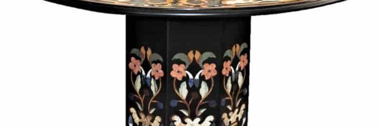 Modern-Pietra-Dura-Round-Marble-Top-Chamfered-Pedestal-Table