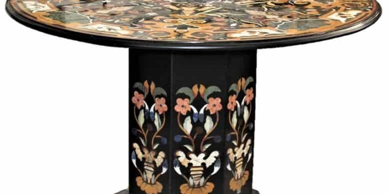 Modern-Pietra-Dura-Round-Marble-Top-Chamfered-Pedestal-Table