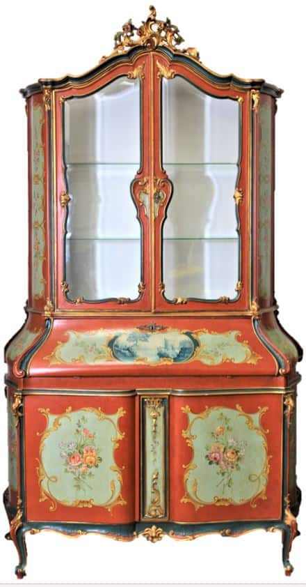Venetian Style Hand Painted Gilded Crest Secretary