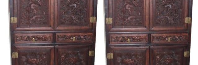 Pair of Chinese Qing Dynasty Fine Carved Cabinets