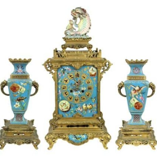 Important Late 19th C. Parisian 3 Piece Clock Set