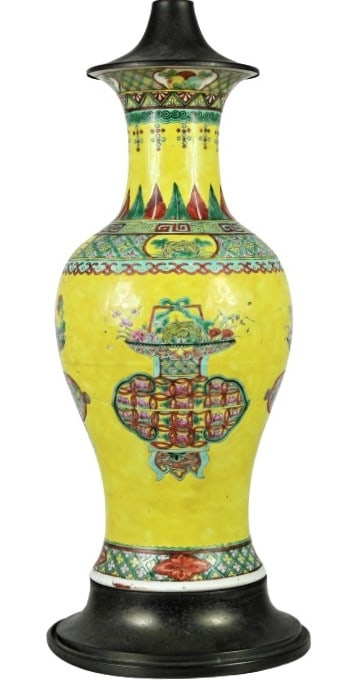 Kang Xi (1661-1722) Imperial Yellow Enameled Lamp