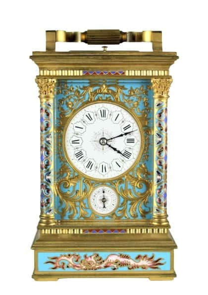 Important 19th C French Champleve Carriage Clock