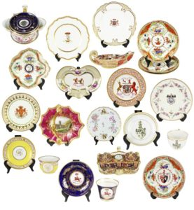A Large Collection of English Regency Armorial and Crest Porcelain Circa 1790-1825)