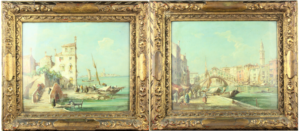 Pair of Venetian Figural Landscapes, Oil on Canvas
