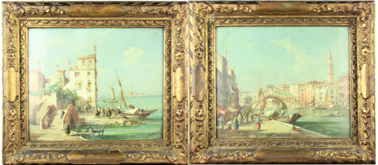 """Pair of """"Canaletto Style"""" Venetian Scenes, Oil on Canvas"""