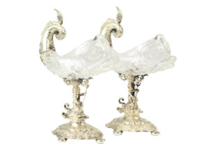 A Pair of Rare German Silver and Crystal Sculptures Circa 1840