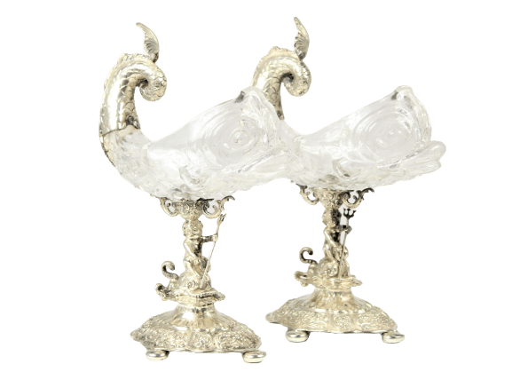 Rare Pair of Antique Germán Renaissance ?????? & Cut Glass Sweetmeat Dolphin Form Bowls