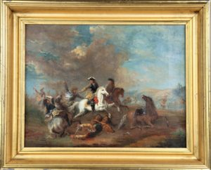 European Calvary Battle Scene, Oil on Canvas