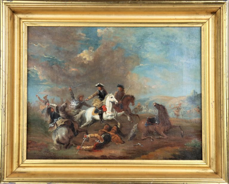 European Calvary Battle Scene, Oil on Canvas