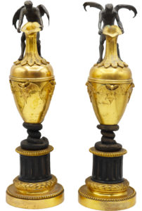 Pair of French Bronze Candlestick Holders