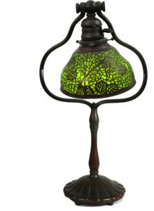 Tiffany Favrile Glass & Bronze Filigree Lamp