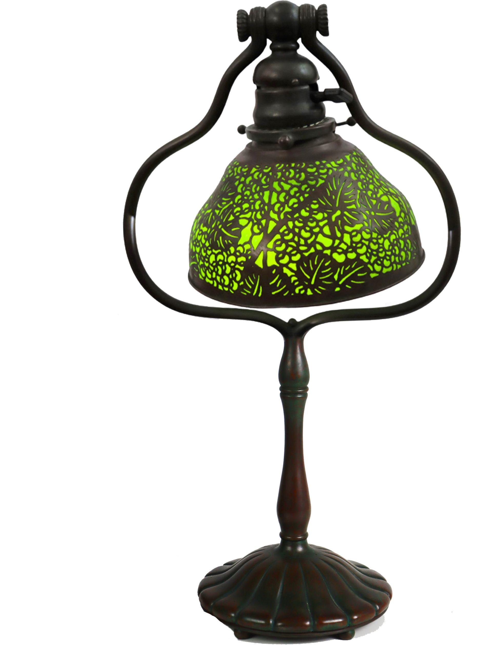 Tiffany Favrile Glass & Bronze Filigree Lamp
