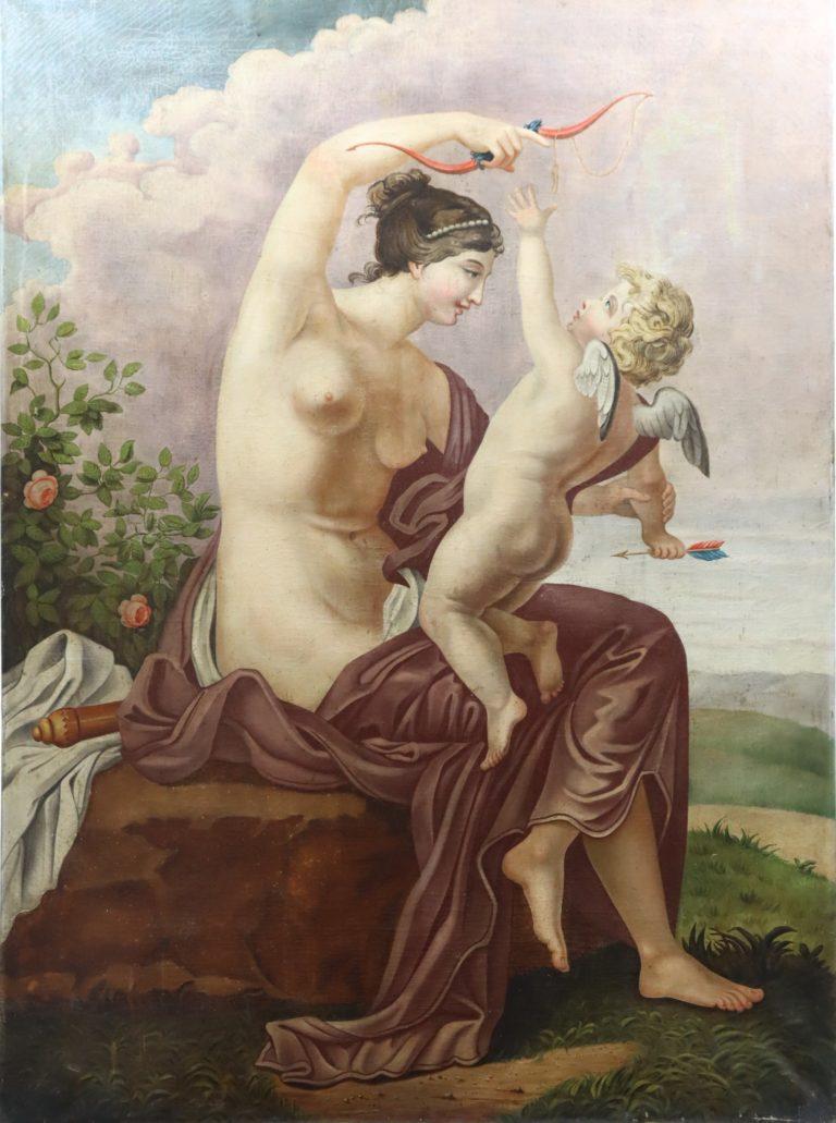 19th C. Venus & Cupid Mythological Scene. Provenance Adrienne Vittadini Southampton Estate