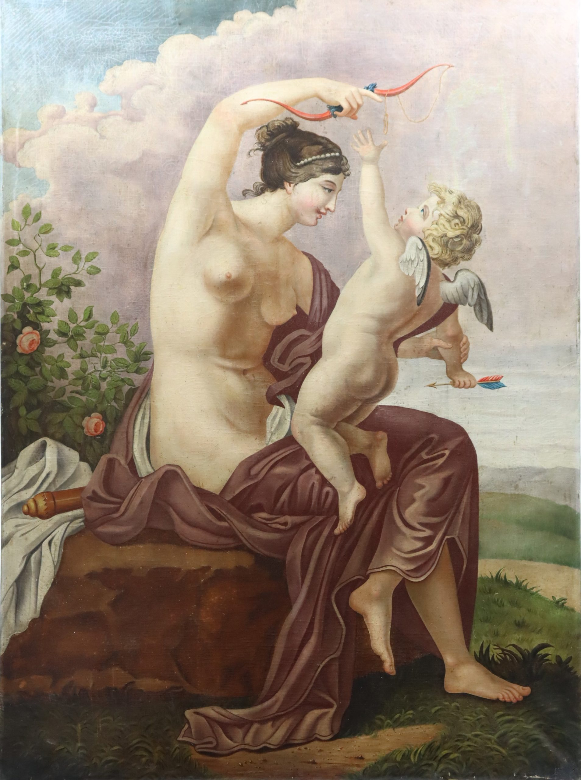 19th C. Venus & Cupid Mythological Scene. Provenance Adrienne Vittadini Southampton Estate