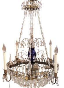 Antique Cystal and Colored Glass Chandelier