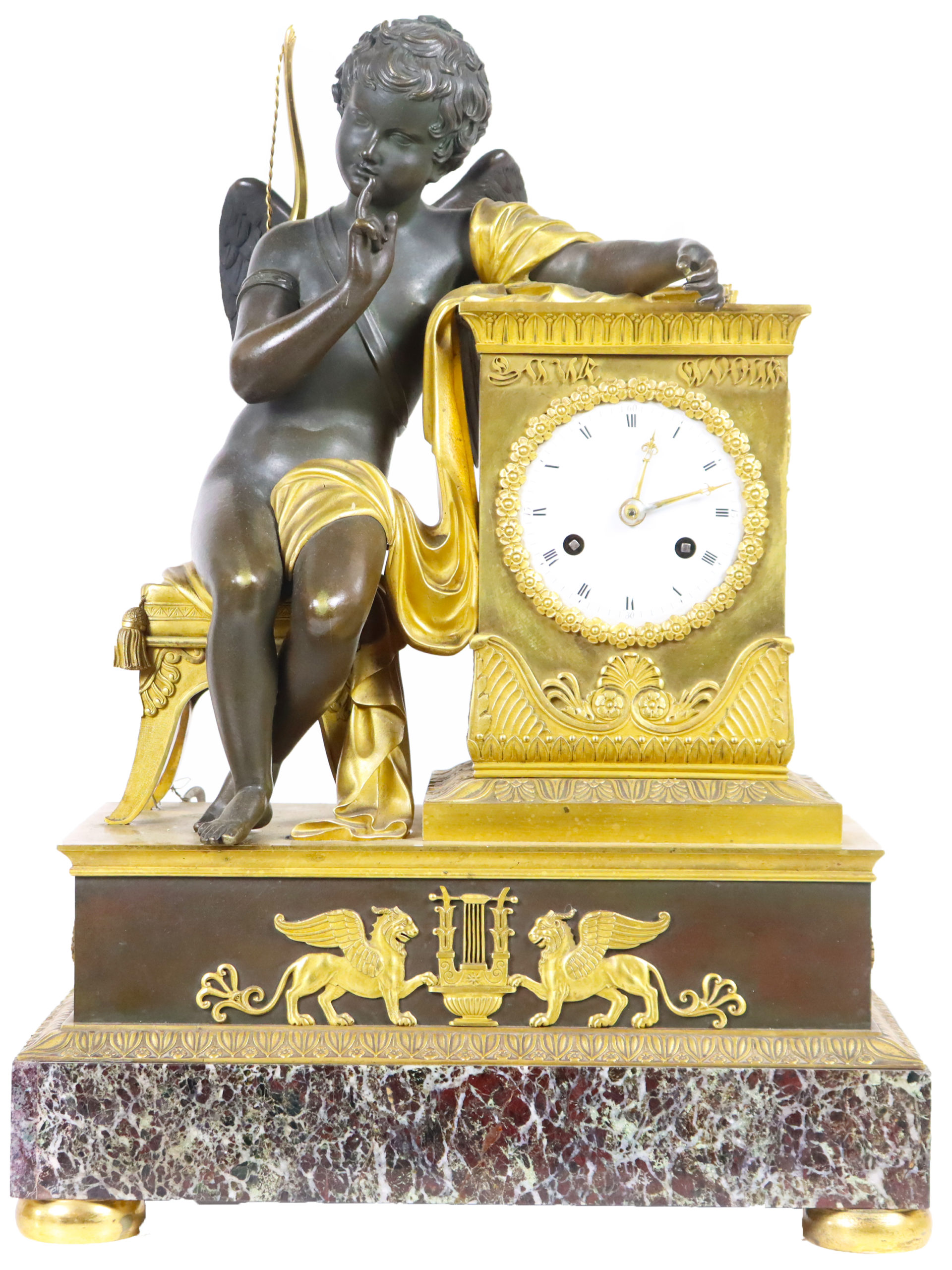 Early French Empire Bronze Clock