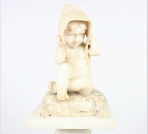 White Marble Statue of Child w Marble Column
