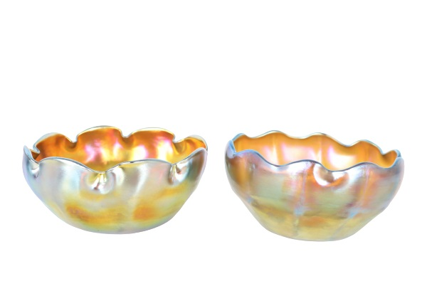 You are currently viewing Pair of Louis Comfort Tiffany Favrile Glass Bowls