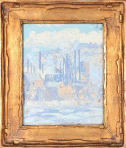 American Impressionist Industrial Scene (Circa. 1920) Oil on Board
