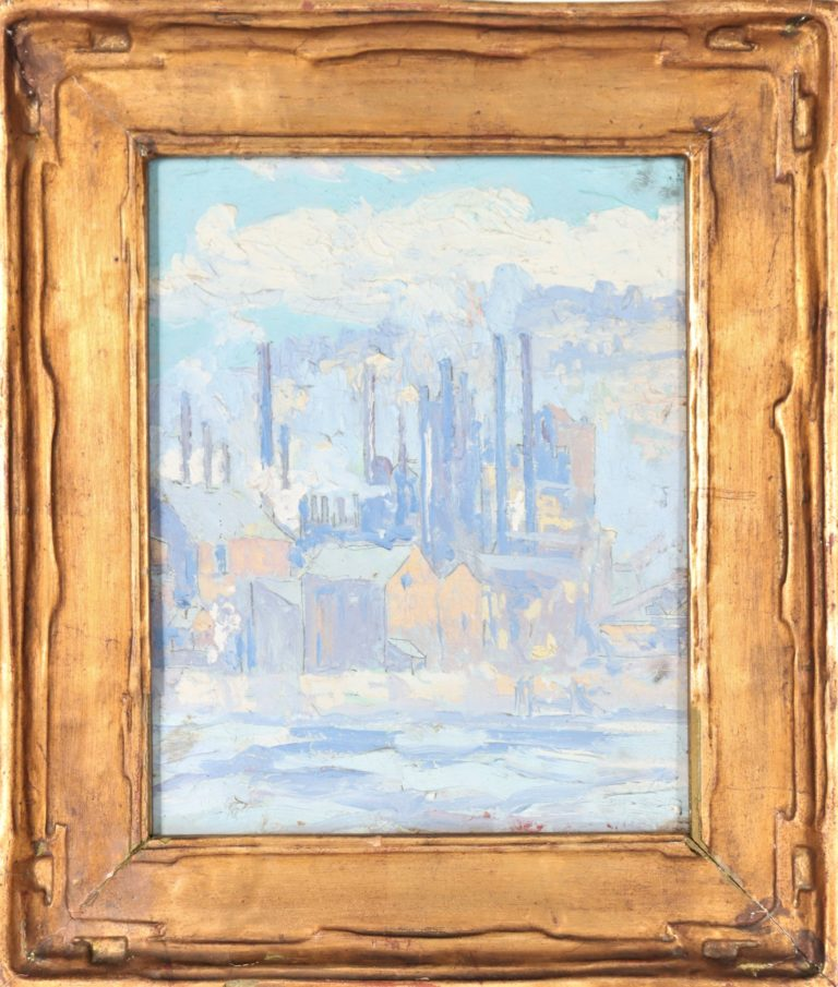 Read more about the article American Impressionist Industrial Scene (Circa. 1920) Oil on Board